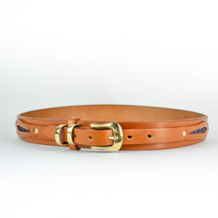 Calgary Leather Belt in Tan with Brass buckle and two brass loops and tartan eye shaped inserts into leather overlay